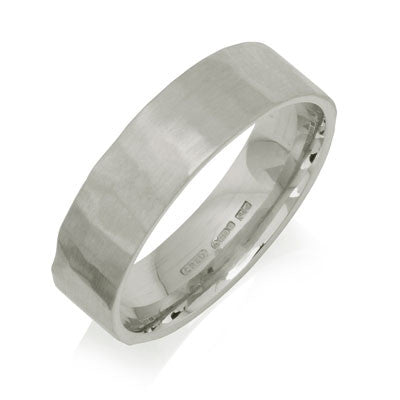 Flat Court Hammered Wedding Ring- Yellow or White Gold (18ct) or Platinum - CRED Jewellery - Fairtrade Jewellery - 5