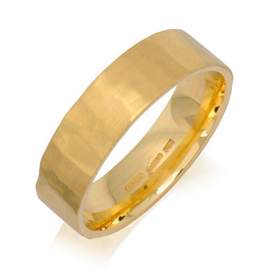 Flat Court Hammered Wedding Ring- Yellow or White Gold (18ct) or Platinum - CRED Jewellery - Fairtrade Jewellery - 6