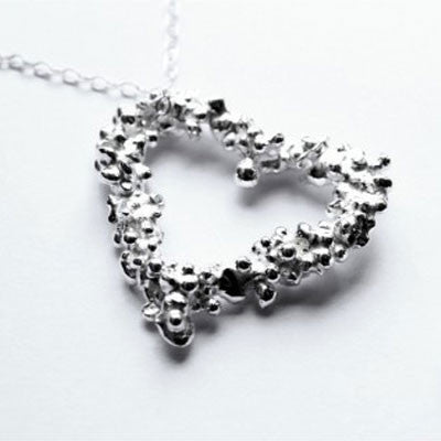 Fairtrade Silver Pebble Heart Pendant