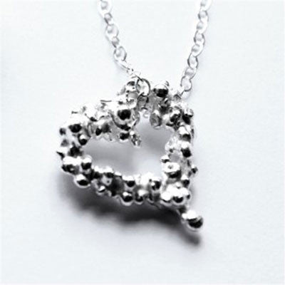 Petite Fairtrade Silver Pebble Heart Pendant