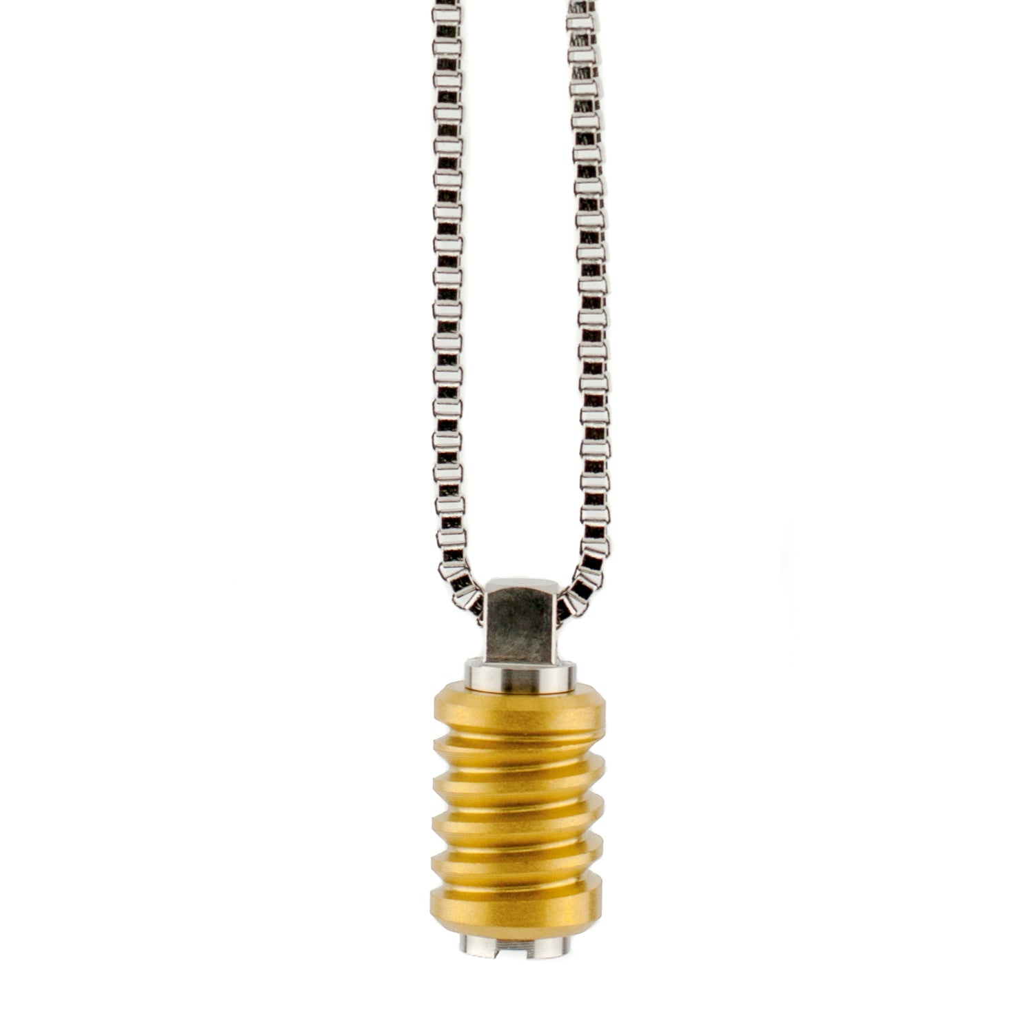 "Pendant Converter with Jet Matte Gold Bead-Large 28"" Chain"