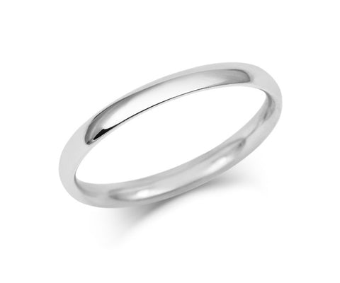 Simple Court Wedding Ring - Fine Weight (9ct)- White Gold