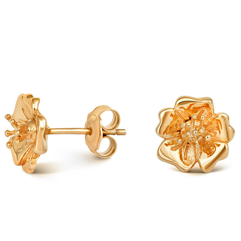 Liz Earle Wild Rose Stud Earrings with Adaptagem leaf drops - CRED Jewellery - Fairtrade Jewellery - 2