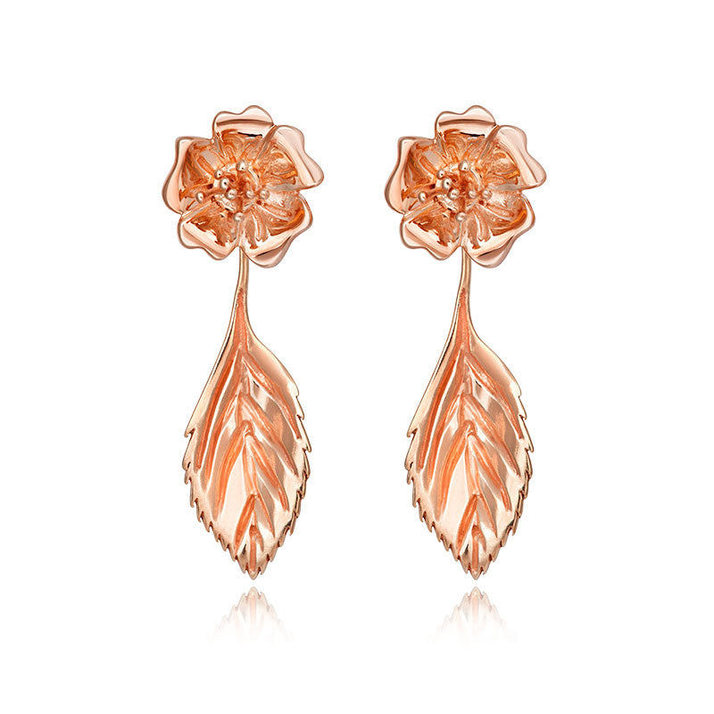 Liz Earle Wild Rose Stud Earrings with Adaptagem leaf and crystal drops - CRED Jewellery - Fairtrade Jewellery - 3