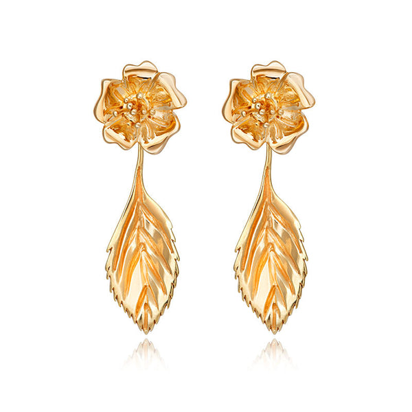Liz Earle Wild Rose Stud Earrings with Adaptagem leaf drops - CRED Jewellery - Fairtrade Jewellery - 1