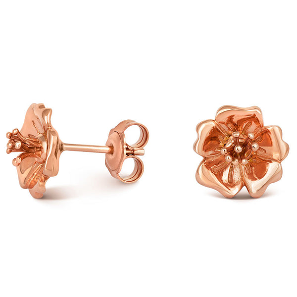 Liz Earle Wild Rose Stud Earrings with Adaptagem leaf drops - CRED Jewellery - Fairtrade Jewellery - 4