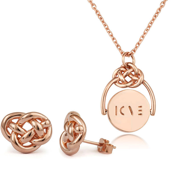 Love Knot Rose Gold Spinner & Studs Set - CRED Jewellery - Fairtrade Jewellery