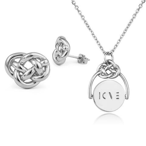 Love Knot Silver Spinner & Studs Set