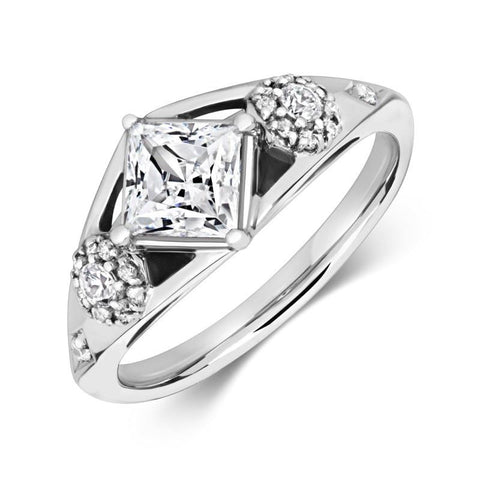 Lux  Ethical Solitaire Lab Grown Diamond Engagement Ring with Lab Grown Diamond Shoulders