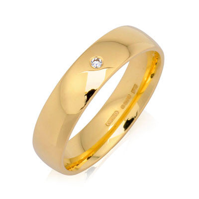 Gents Diamond Set Court Wedding Ring- Yellow or White Gold (18ct) or Platinum