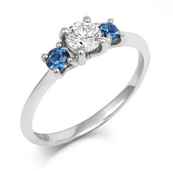 Diamond & Montana Side Sapphires Trilogy Ring - CRED Jewellery - Fairtrade Jewellery - 1