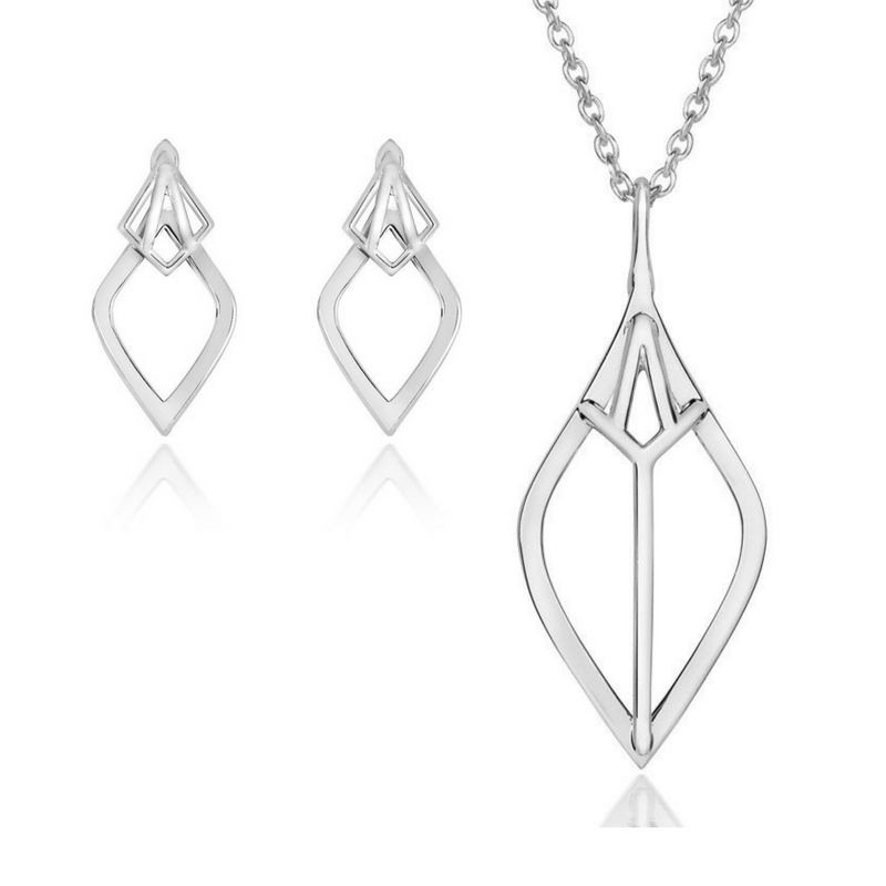 Nouveau Pendant and Ear Jacket Set - CRED Jewellery - Fairtrade Jewellery