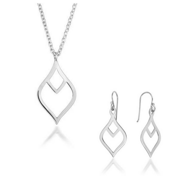 Nouveau Leaf Pendant and Earring Set - CRED Jewellery - Fairtrade Jewellery