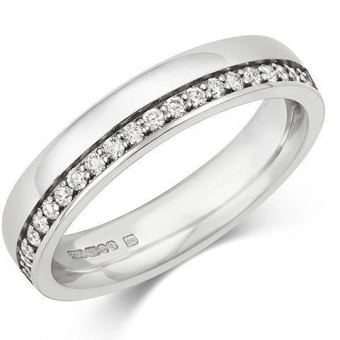 Offset Diamond Half Eternity/Wedding Ring - (18ct) Yellow, White or Rose gold