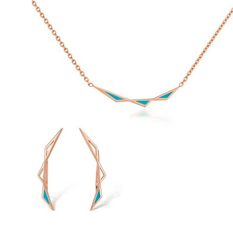 Origins Triangular Pendant and Origins Climber Earring Set - Rose Gold