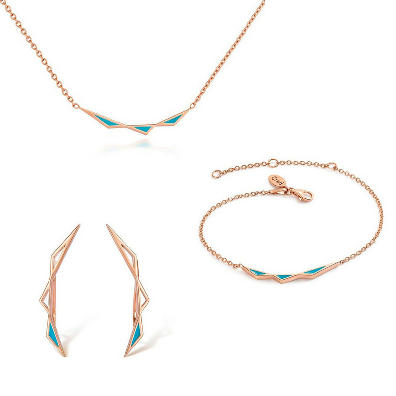 Origins Triangular Full Jewellery Set - Rose Gold - CRED Jewellery - Fairtrade Jewellery