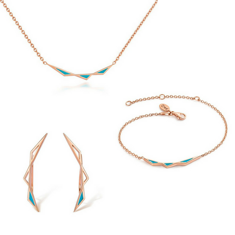 Origins Triangular Full Jewellery Set - Rose Gold