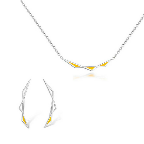 Origins Triangular Pendant and Origins Climber Earring Set - Silver