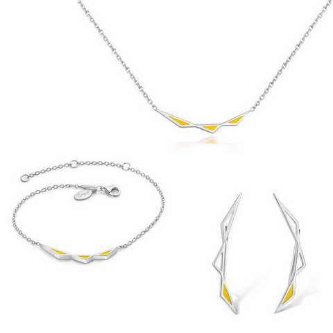 Origins Triangular Full Jewellery Set - Silver
