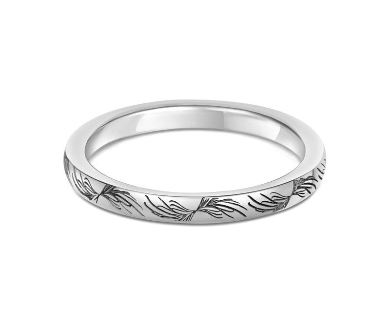 Feather Wedding Ring- Yellow or White Gold (18ct) or Platinum - CRED Jewellery - Fairtrade Jewellery - 3