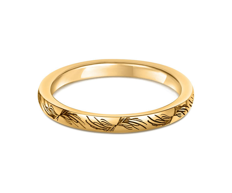 Feather Wedding Ring- Yellow or White Gold (18ct) or Platinum - CRED Jewellery - Fairtrade Jewellery - 4