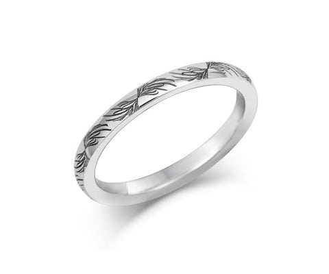 Feather Wedding Ring- Yellow or White Gold (18ct) or Platinum