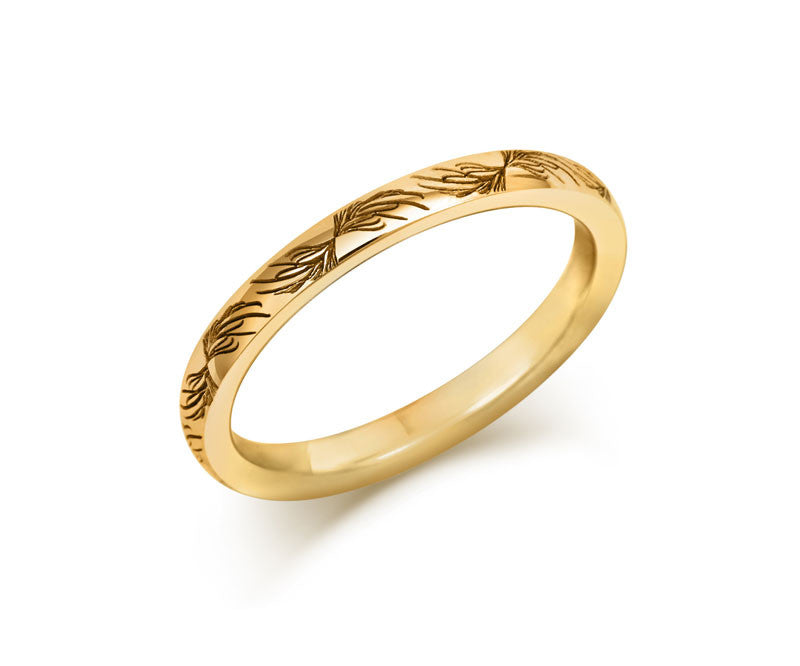 Feather Wedding Ring- Yellow or White Gold (18ct) or Platinum - CRED Jewellery - Fairtrade Jewellery - 2