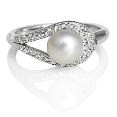 Pearl & Topaz Ribbon  Ring - CRED Jewellery - Fairtrade Jewellery - 2