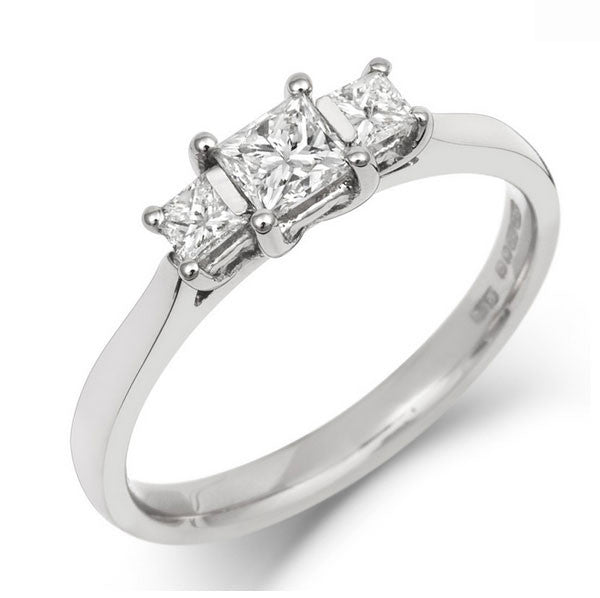 Princess Cut Diamond Gallery Trilogy - CRED Jewellery - Fairtrade Jewellery - 1