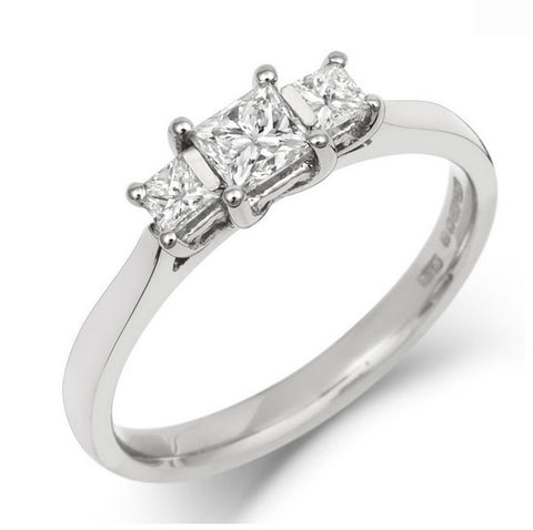 Princess Cut Ethical Diamond Gallery Trilogy Engagement Ring