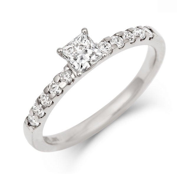 0.5ct Princess Solitaire Diamond Engagement Ring with Diamond Set Band - CRED Jewellery - Fairtrade Jewellery - 1