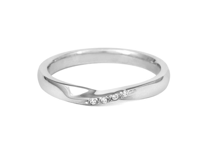 Ribbon Twist Wedding Ring with Diamonds-Yellow or White Gold (18ct) or Platinum - CRED Jewellery - Fairtrade Jewellery - 3