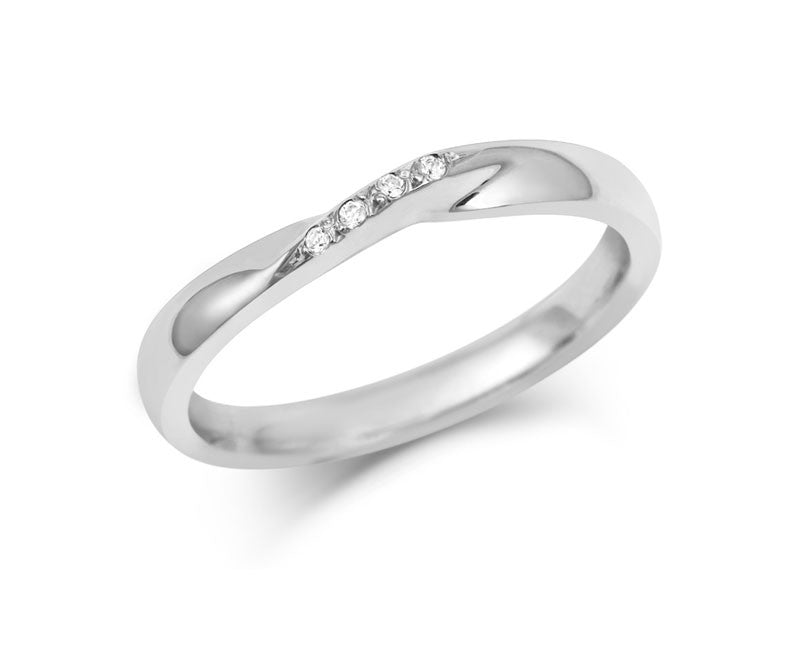 Ribbon Twist Wedding Ring with Diamonds-Yellow or White Gold (18ct) or Platinum - CRED Jewellery - Fairtrade Jewellery - 1