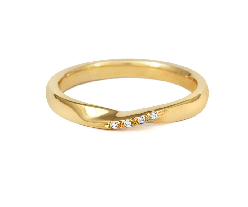 Ribbon Twist Wedding Ring with Diamonds-Yellow or White Gold (18ct) or Platinum - CRED Jewellery - Fairtrade Jewellery - 5