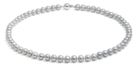 "Jersey Pearl Silver Grey (7.5mm) 18"" Necklace"