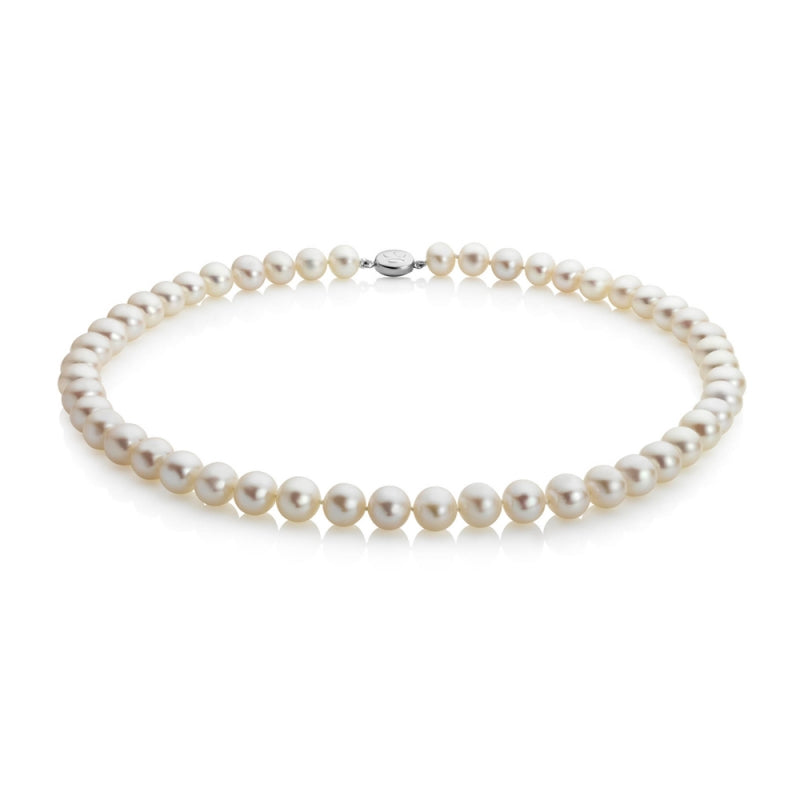 "String 7-7.5mm Round Pearl Necklace 16"" (white)"