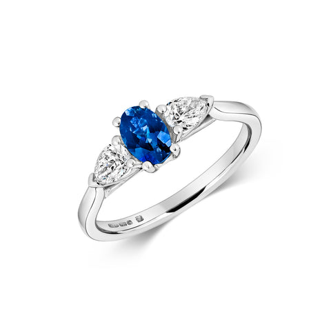 Oval Sapphire & Pear Diamond Trilogy Engagement Ring