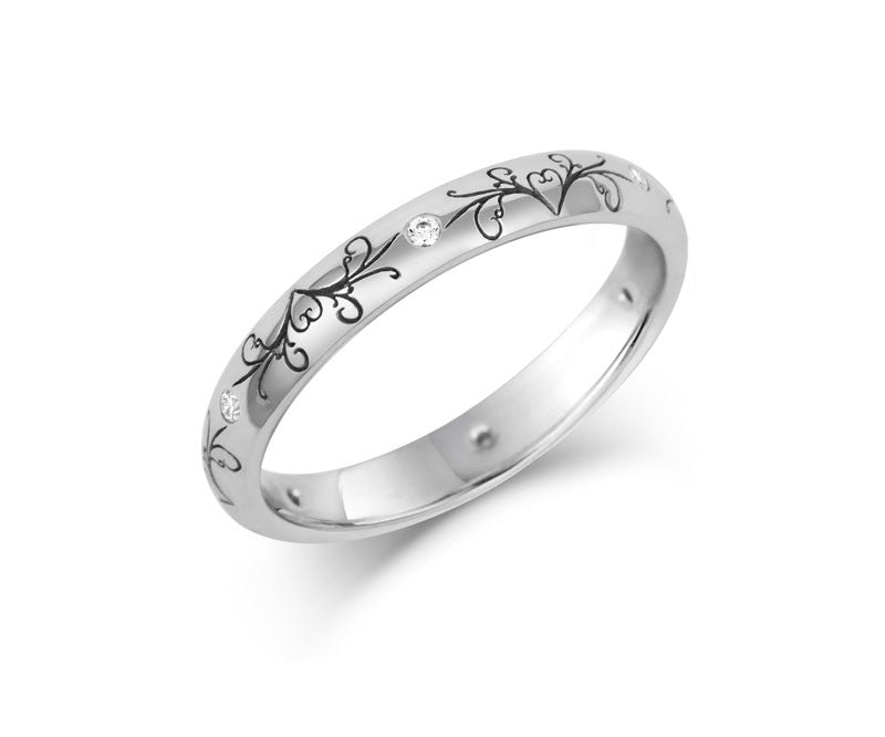 Dove Tail Wedding Ring with Diamonds- Yellow or White Gold (18ct) or Platinum - CRED Jewellery - Fairtrade Jewellery - 2