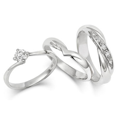 V Shaped Wedding Ring Yellow or White Gold 18ct or Platinum