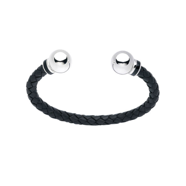 Silver & Leather Mens Torc Bangle - CRED Jewellery - Fairtrade Jewellery - 2