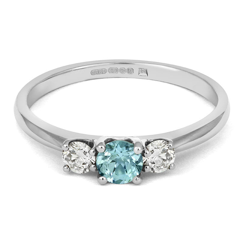 Teal Sapphire Trilogy Ring - CRED Jewellery - Fairtrade Jewellery - 2