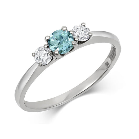 Petite Teal Sapphire and Diamond Trilogy Engagement Ring