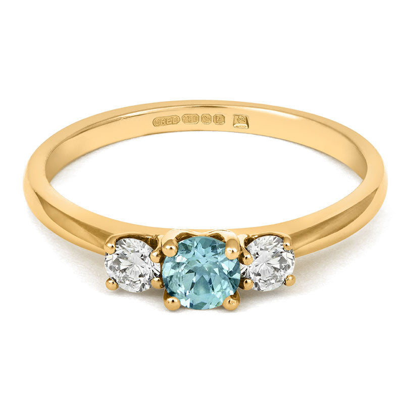 Teal Sapphire Trilogy Ring - CRED Jewellery - Fairtrade Jewellery - 4