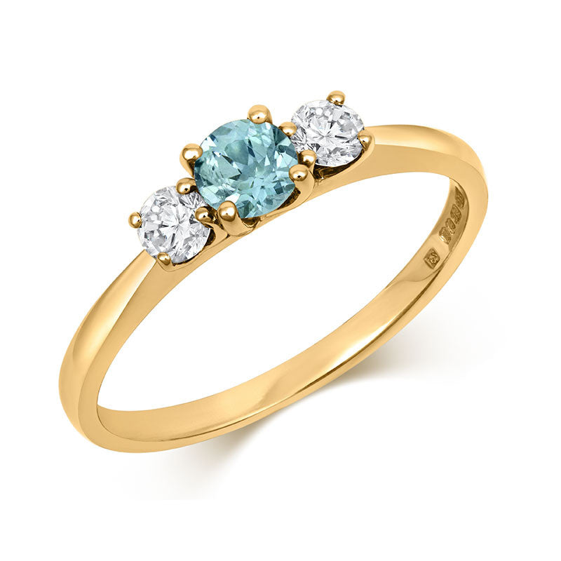 Teal Sapphire Trilogy Ring - CRED Jewellery - Fairtrade Jewellery - 5