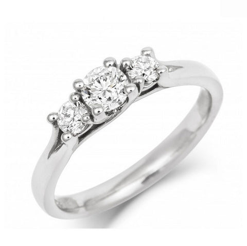 Brilliant Cut Ethical Twist Setting Diamond Trilogy Engagement Ring