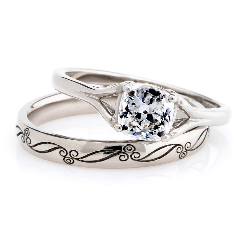 vintage style engagement and wedding ring