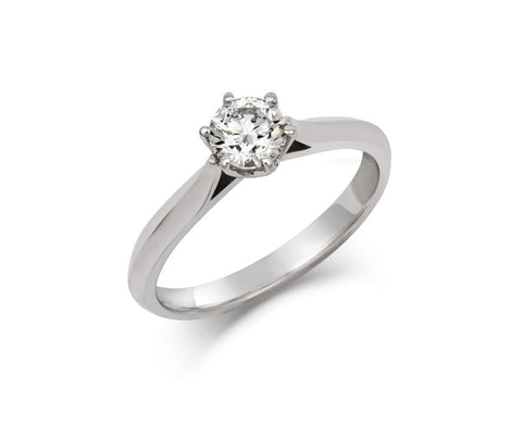 Diamond Crown Solitaire Engagement Ring
