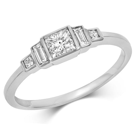 Deco Trilogy Princess Cut Diamond Ring with Baguette Cut Diamond Shoulders