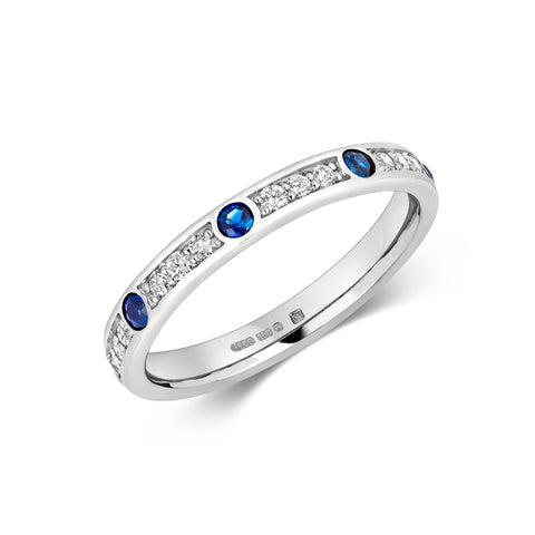 Sapphire and Diamond Eternity/Wedding Ring - Platinum