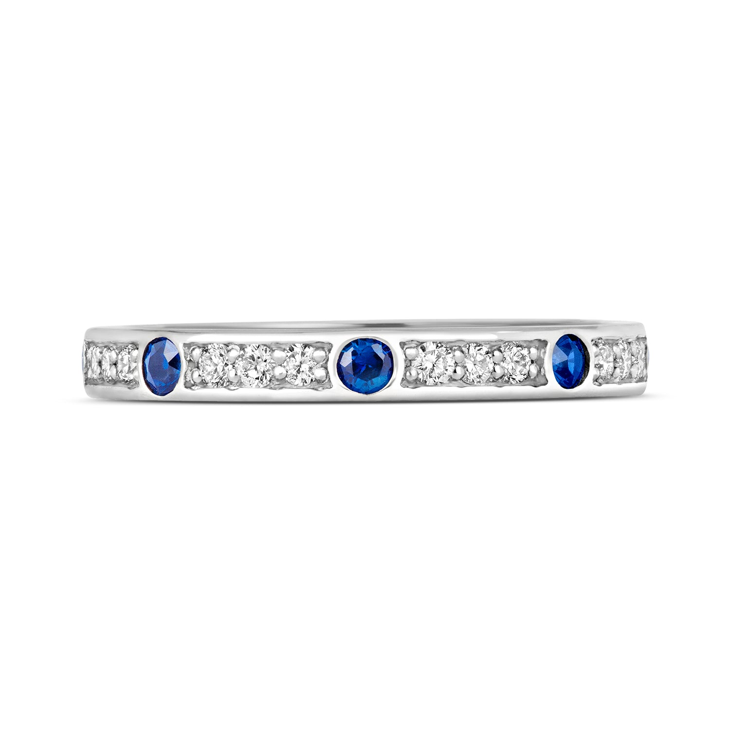 CORINA Sapphire and Diamond Eternity/Wedding Ring - Platinum